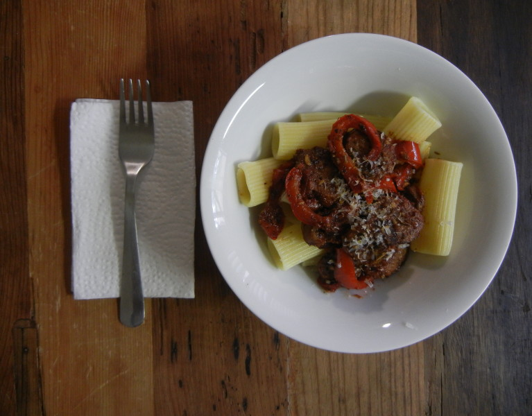 Pasta with Sausage and Peppers - Red Hot and Hungry