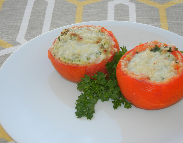 Spinach and Ricotta Stuffed Tomatoes - Red Hot and Hungry