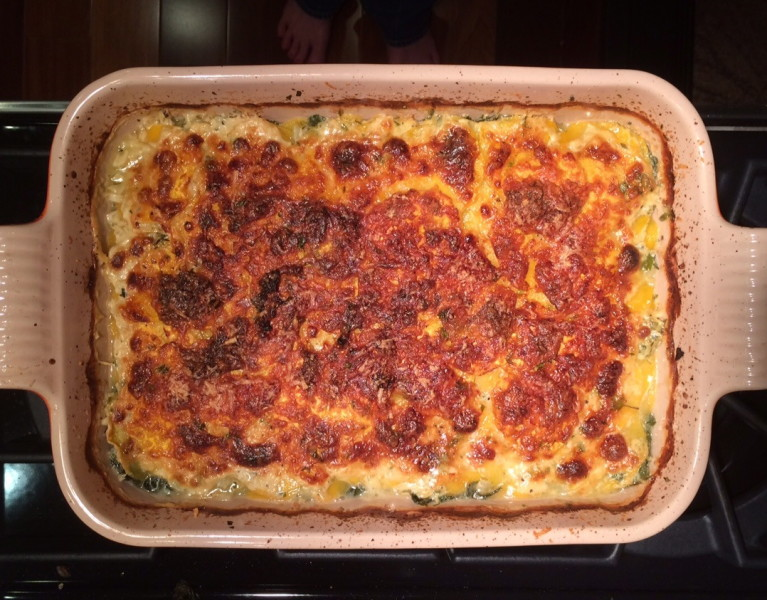 Butternut Squash and Swiss Chard Gratin - Red Hot and Hungry