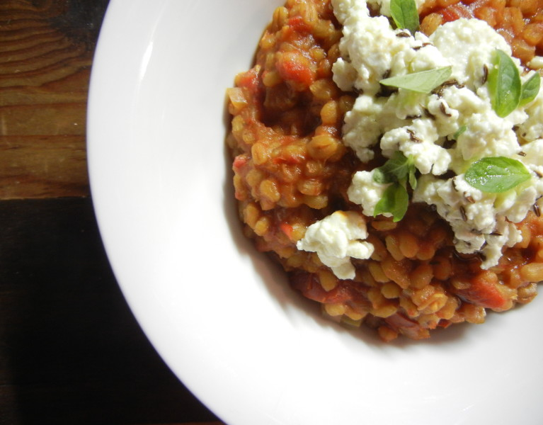 Barley Risotto with Marinated Feta - Red Hot and Hungry