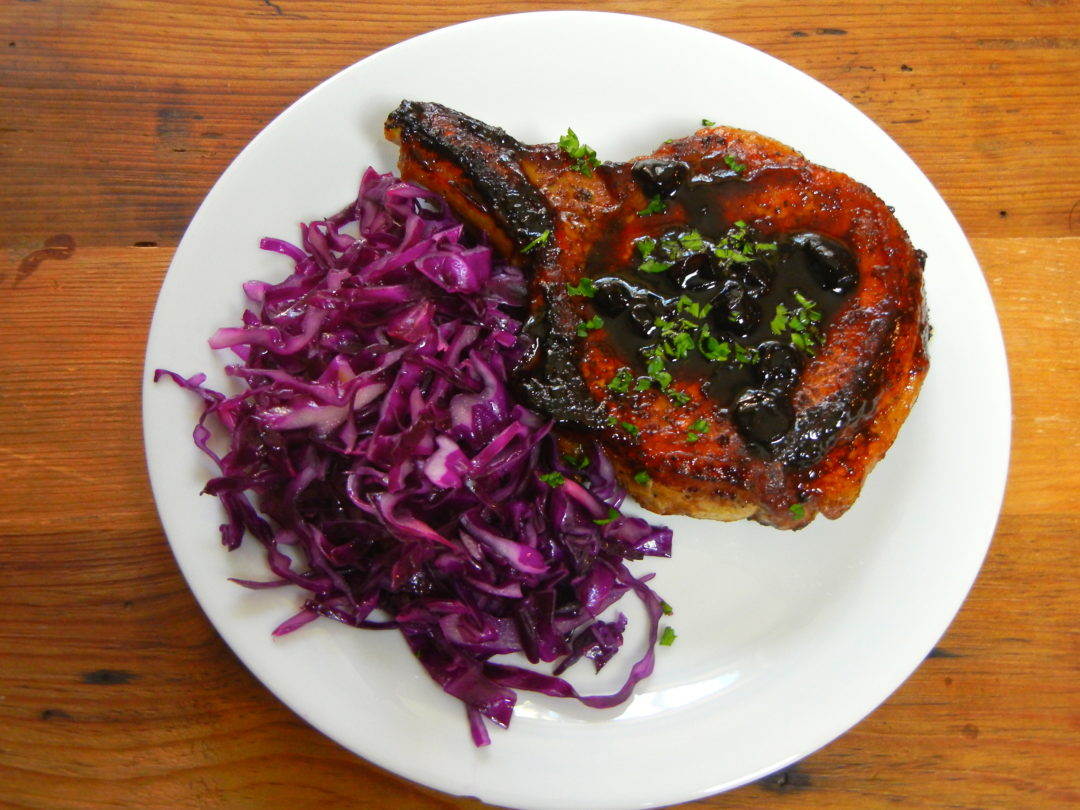 Pork Chops with Black Currant Preserves - Red Hot and Hungry