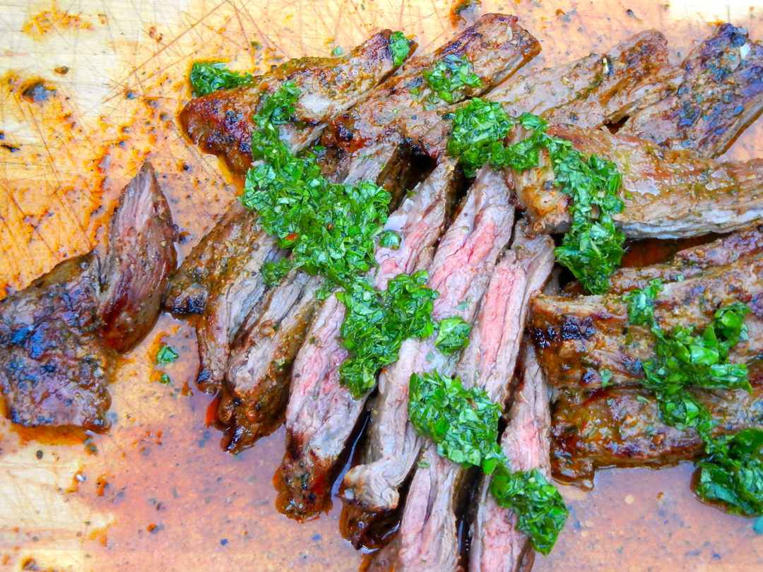 Skirt Steak with Chimichurri Sauce - Red Hot and Hungry