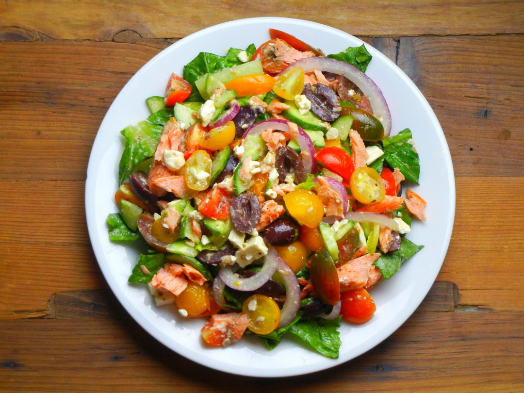 Greek Salad with Salmon - Red Hot and Hungry