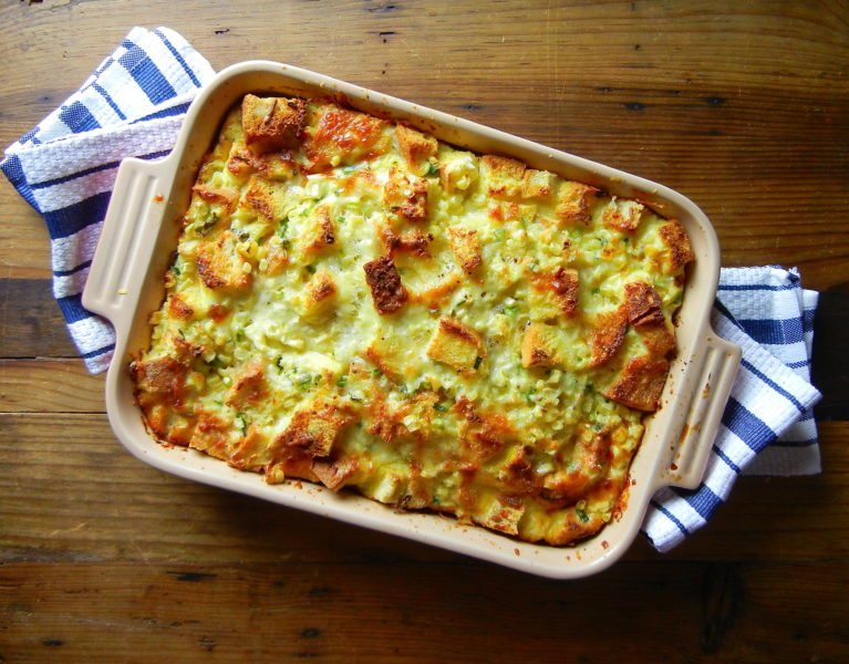 Corn, Scallion and Cheese Strata - Red Hot and Hungry