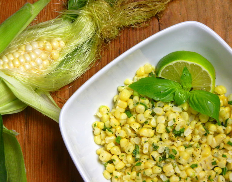 Corn with Lime Butter and Basil - Red Hot and Hungry
