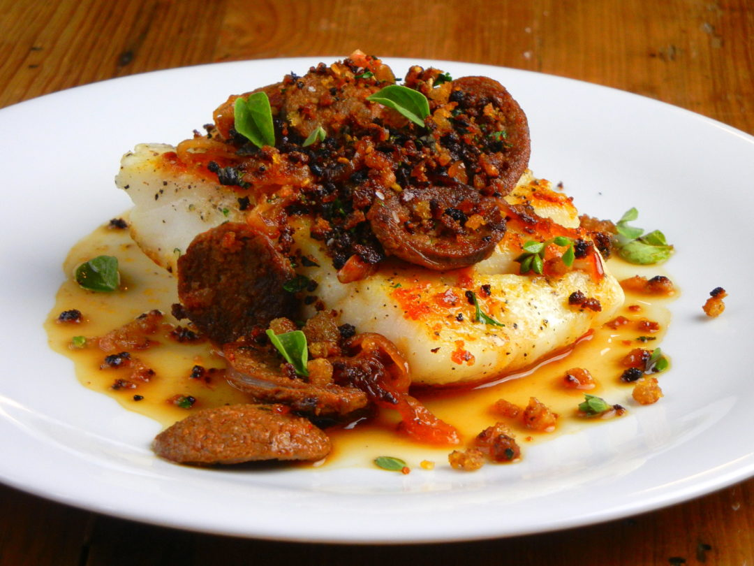 Cod with Lamb Merguez and Breadcrumbs - Red Hot and Hungry