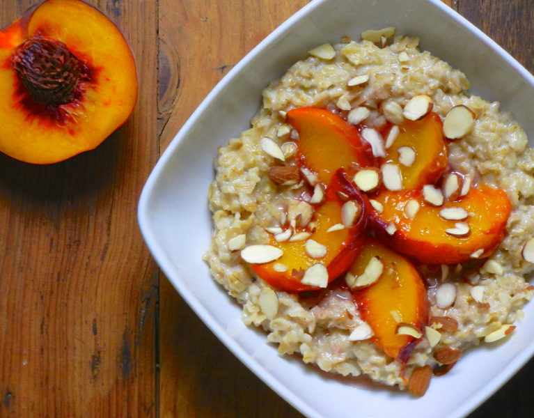 Peach Ginger Oatmeal - Red Hot and Hungry