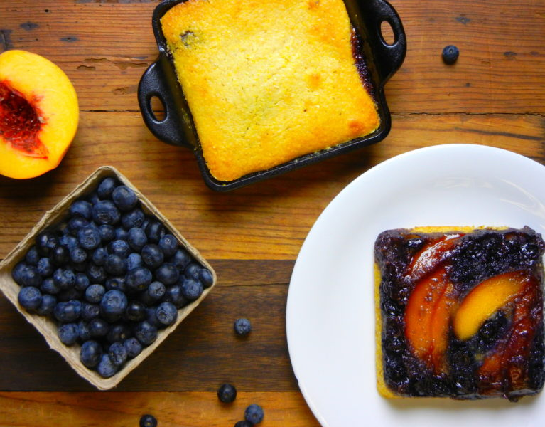 Blueberry-Peach Cornbread Cake - Red Hot and Hungry