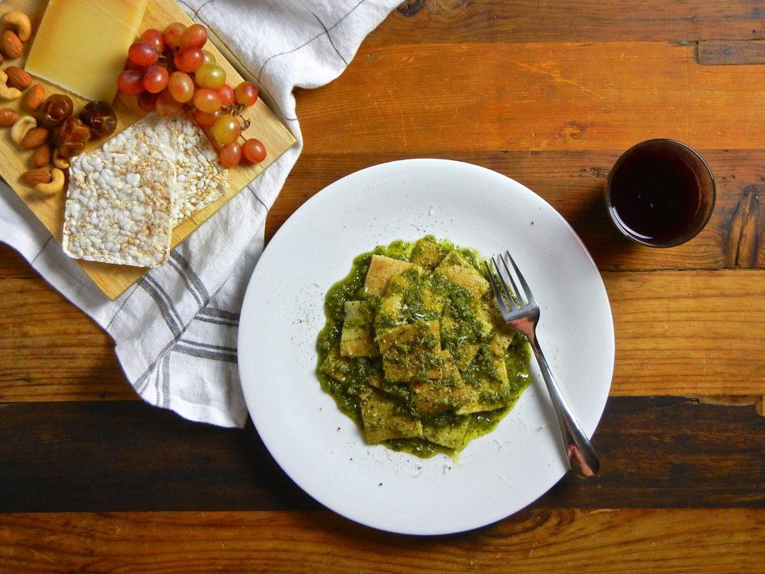 Testaroli with Basil Pesto - Red Hot and Hungry