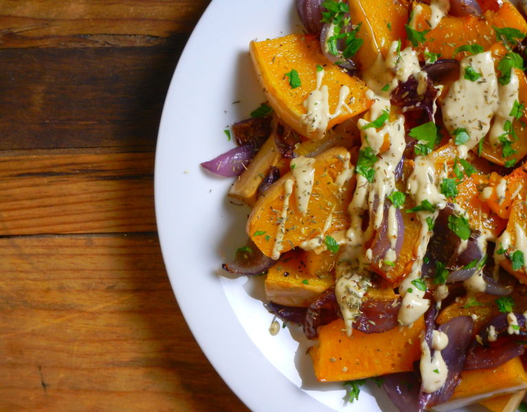 Roasted Squash & Red Onion with Tahini - Red Hot and Hungry