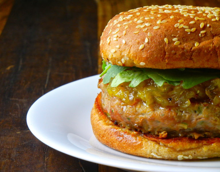 Turkey Burgers with Pineapple-Onion Compote - Red Hot and Hungry