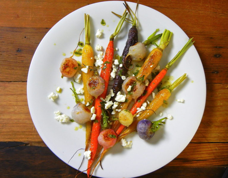 Roasted Roots with Feta - Red Hot and Hungry