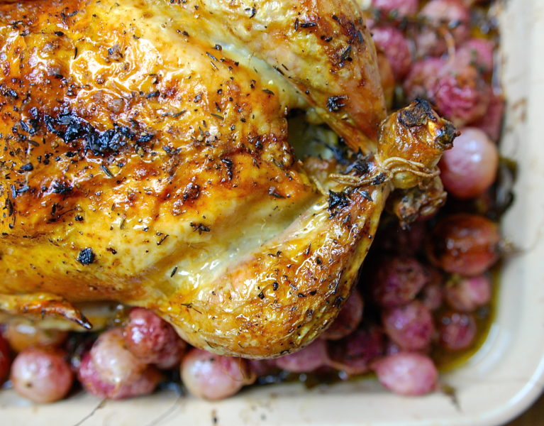 Roast Chicken with Radishes - Red Hot and Hungry