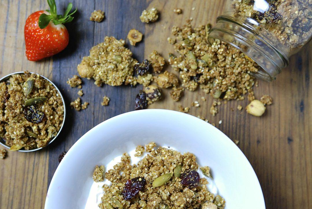 Quinoa, Hazelnut and Cherry Granola - Red Hot and Hungry