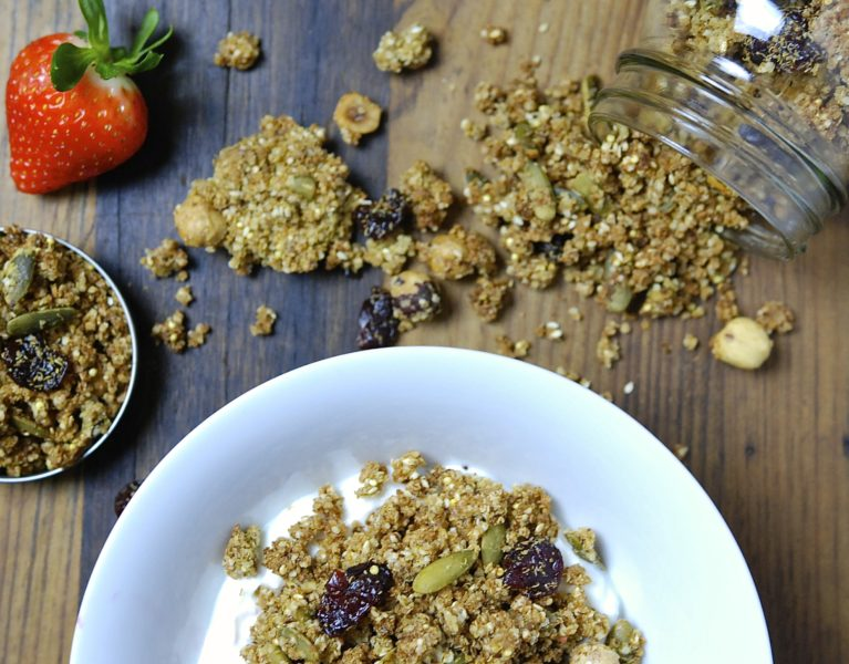 Quinoa, Hazelnut and Cherry Granola - Red Hot and Hungry