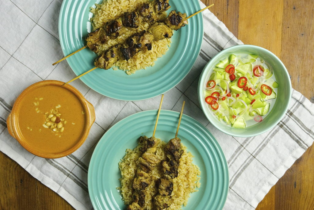 Chicken Satay with Peanut Dipping Sauce - Red Hot and Hungry