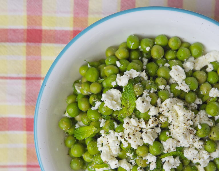 Spring Pea Salad with Feta and Mint - Red Hot and Hungry