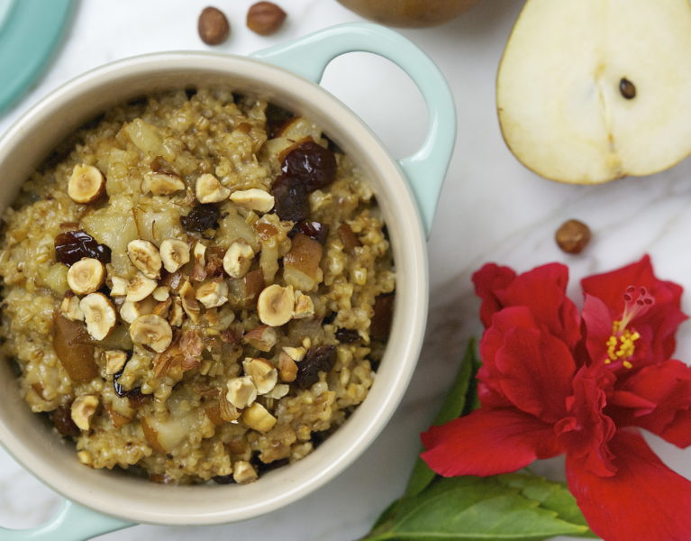 Steel Cut Oats with Pear and Cherry Compote - Red Hot and Hungry